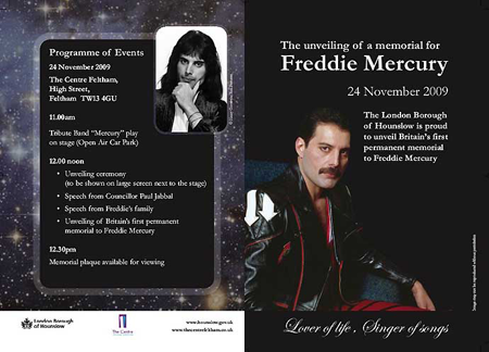 Unveiling of Freddie Mercury Memorial. Feltham November 24th 2009